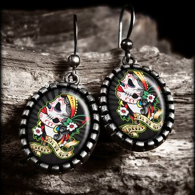 Custom Made Dia De Los Muertos Dead Girl Antique Silver Earrings 75-Oes