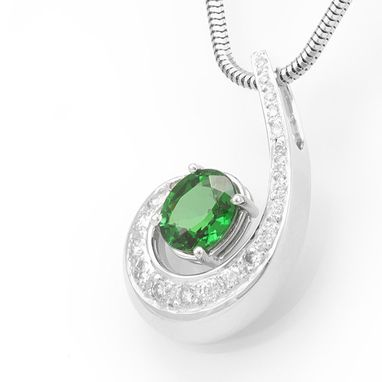 Custom Made Green Tourmaline Diamond Pendant In 14k White Gold, Unique Pendant, Green Stone Pendant