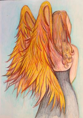 "Custom Made ""Autumn Angel""- Goddess Art- Fantasy- Angel Original Art Print - Home Decor"