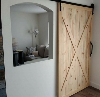 Custom Made Custom Blue Pine Sliding Barn Door