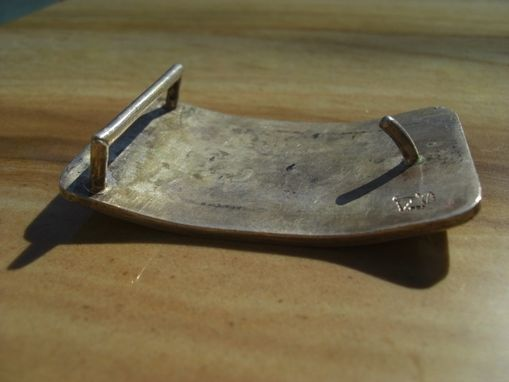 Custom Made Buckle Sterling .925 Moose Bull, Cow, Calf Under An Aurora