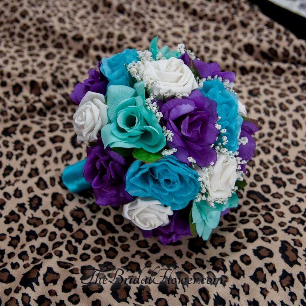 Hand Made Purple, Turquoise And Aqua Teal/Tiffany Blue Round Bridal ...