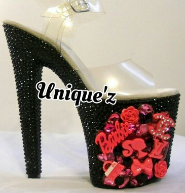 Custom Made 3d Barbie Rhinestoned Platform Heels
