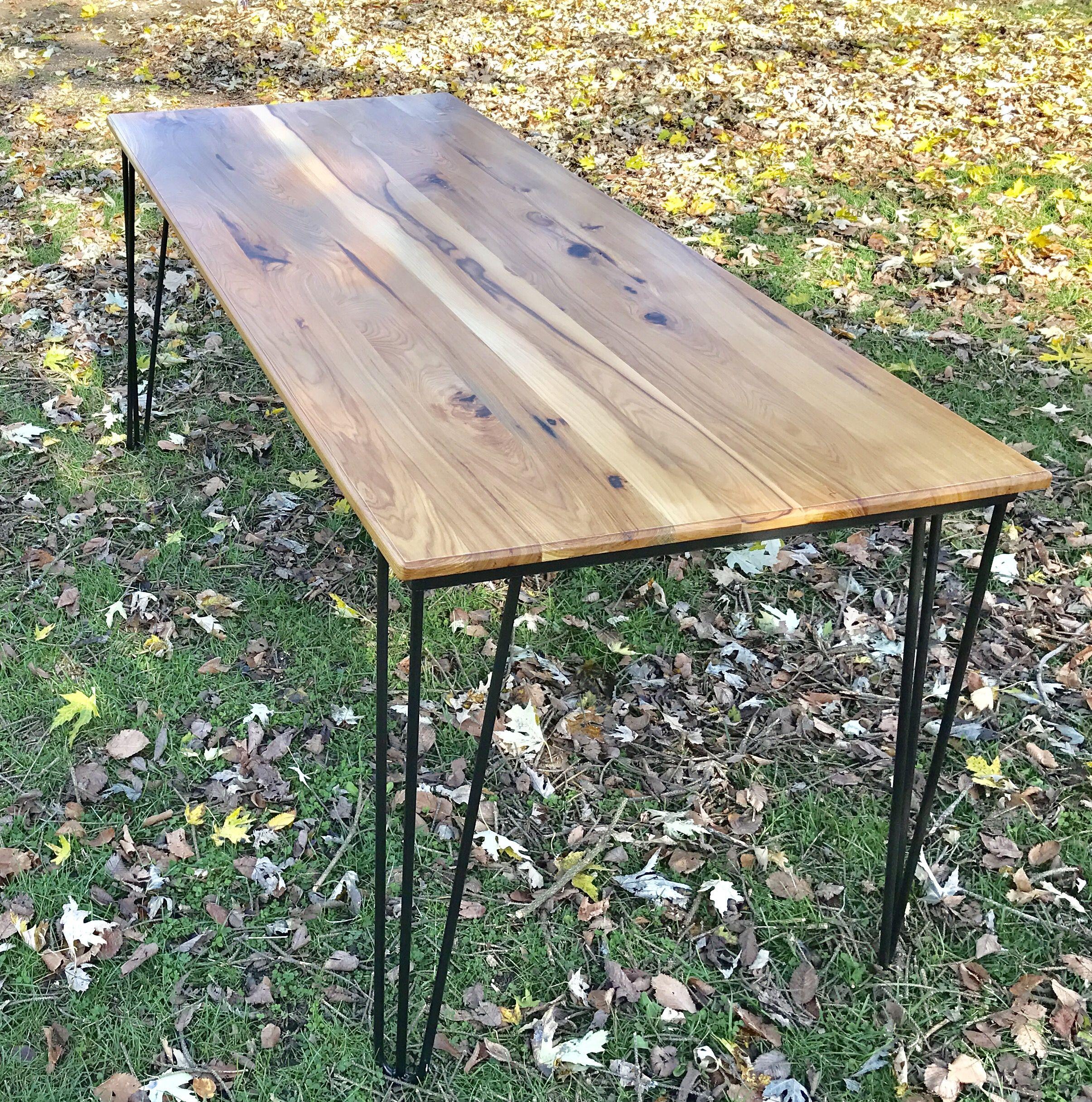 Custom Made Mid Century Modern Dining Table Hairpin Leg