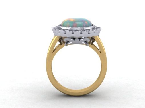 Custom Made Australian Opal And Diamond Ring Matching  Insert Style Wedding Band