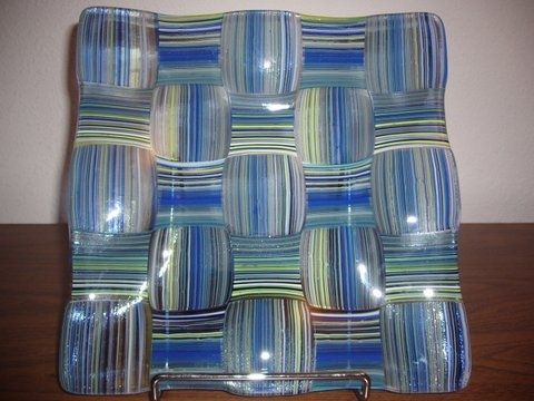 Custom Made Blue Basketweave Fused Glass Platter