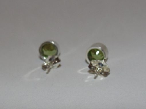Custom Made Sterling Silver Faceted Peridot Bezel Set Earrings Birthstone August