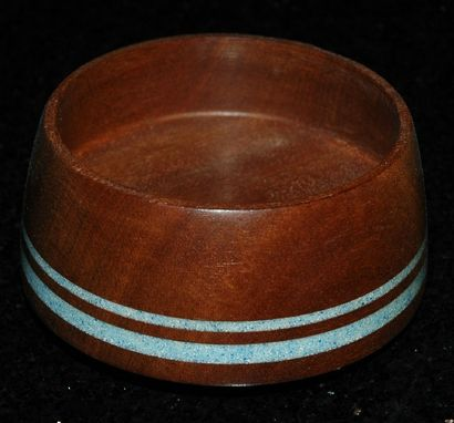 Custom Made Mahogany Bowl With Stone Inlay