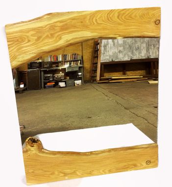 Custom Made Live Edge Honey Locust Wood Framed Mirror 36