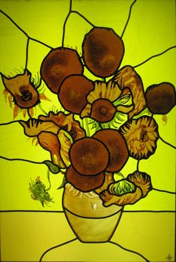 Custom Made Van Gogh Sunflowers Stained Glass