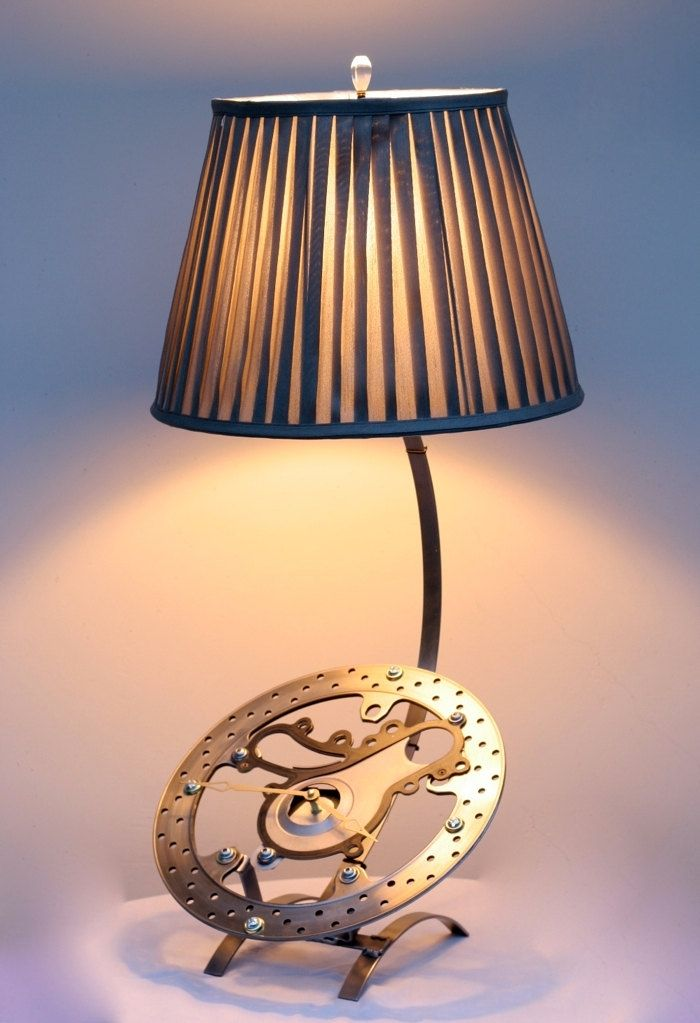 Custom Made Motorcycle Rotor Table Lamp With Clock By