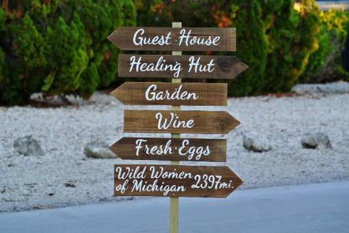Custom Made Guest House Destination Signs, Wooden Hotel Decor, Garden Sign Post