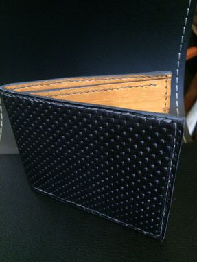 Custom Made Black, Orange And Gray Men's Perforated Horse Leather And Nubuck Bifold Wallet