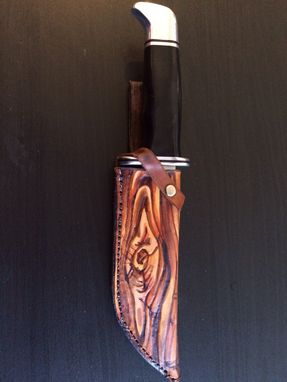 Buy A Hand Made Custom Leather Buck Knife Sheath Made To