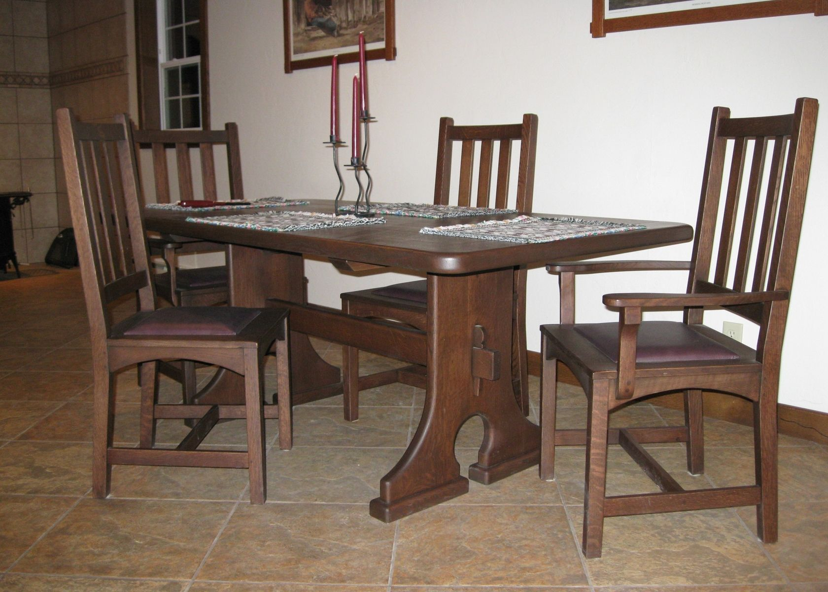 Custom made keyed trestle table