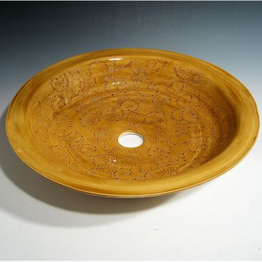 Custom Made Thrown Pottery Sink With Engraved Chrysanthemum Design In Golden Yellow