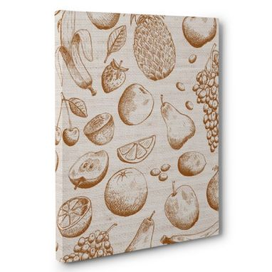 Custom Made Sketched Fruit Kitchen Canvas Wall Art