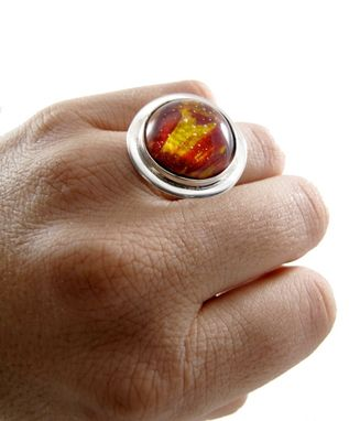 Custom Made Fire Red Ring - Red Resin Ring - Painted Ring - Red Paint - Painted Resin Ring - Sterling Resin