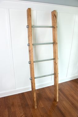 Custom Made Wooden Ladder W/ Industrial Pipe - Blanket Ladder - Quilt Rack - Housewarming Gift
