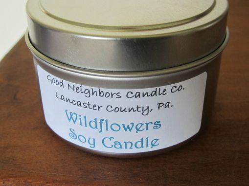 Custom Made Soy Candle In A Tin,Wildflowers 6 Ounce, Pink, Delicate, Hemp Wick