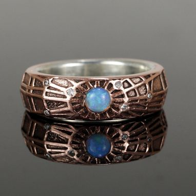 Custom Made Copper Opal Web Ring