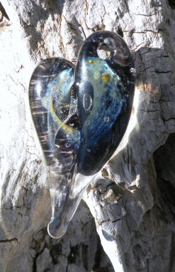 Custom Made Heart Necklace Glass Jewelry Pendant Lampwork Hand Blown Boro Starry Night Glass Heart