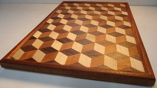Custom Made 3d Tumbling Block Wall Art / Edge Grain Cutting Board