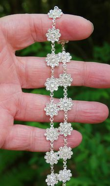 Custom Made Delicate Swarovski Crystal Flower Link Necklace In Clear Crystal And Silver