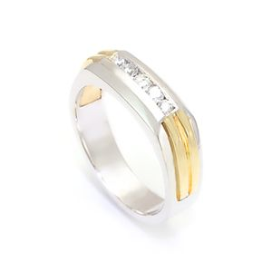 Custom Made Round Diamond Mens Band In 14k White & Yellow Gold, Diamond Band,