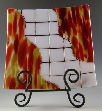 Custom Made Fused Glass Mosaic Fire Plate