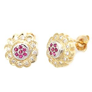 Custom Made Diamond Ruby Stud Earrings, 14k Yellow Gold Earrings, Flower Earrings