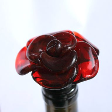 Custom Made Wine Bottle Stopper Glass Rose Red, Hand Blown Rose Flower Stainless Steel, Gift For Wino