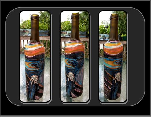 Custom Made Wife Gift, Husband Gift,Anniversary Gift,Artist Gift,Edvard Munch, The Scream,  Wine Art, Art