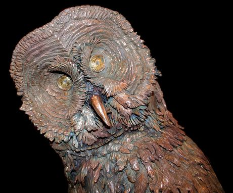Custom Made Bronze Sculpture, Great Grey Owl