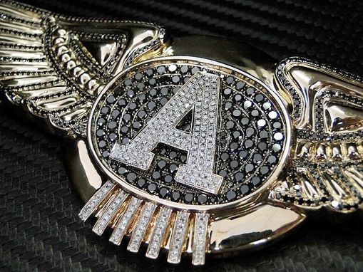 Custom Made Wing Pendant Initial 'A' Letter Custom Black Diamond Charm