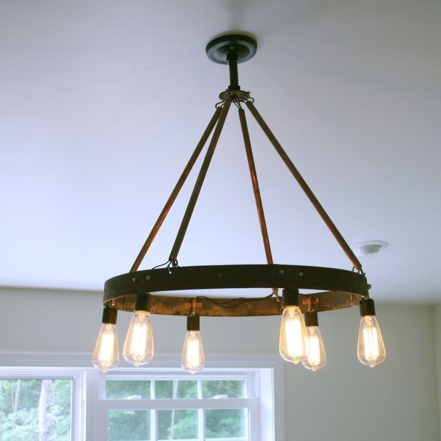 Buy A Custom Bourbon Barrel Ring Chandelier Featuring 6 Edison Bulb Made To Order From Knot 2 Shabby