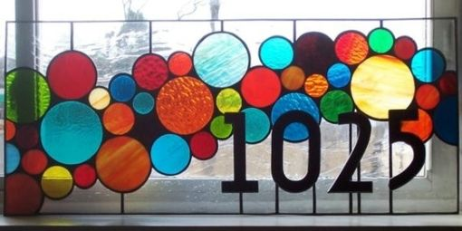 Custom Made Stained Glass Transom Window -  Bubble Transom With 3d House Numbers (Am-41)