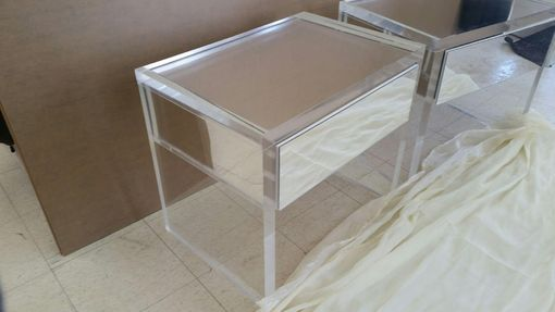 Custom Made Acrylic End / Side Table - Thick Slab Leg Single Drawer- Hand Crafted, Custom Made
