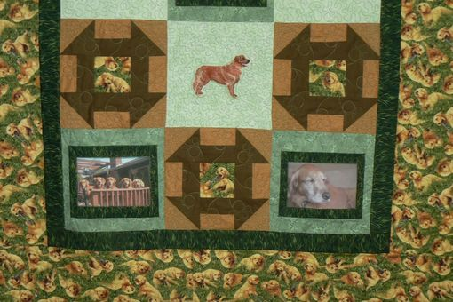 Custom Made Custom Golden Retriever Quilt - Throw Size