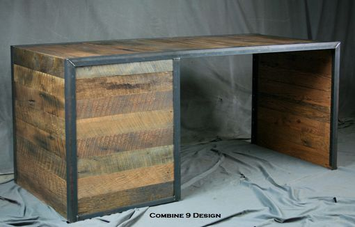 Custom Made Reclaimed Wood Desk With File Cabinet Drawers. Rustic, Industrial. Office Furniture. Filing.