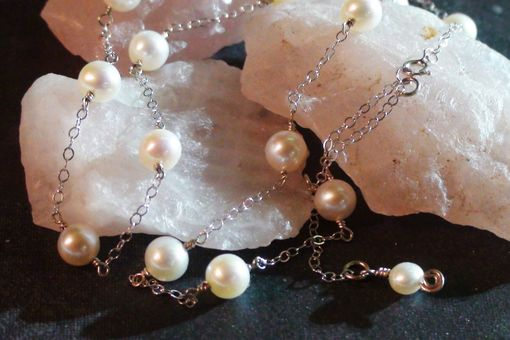 Custom Made Tin Cup Style Pearl Necklace - White Freshwater Pearls In White Gold