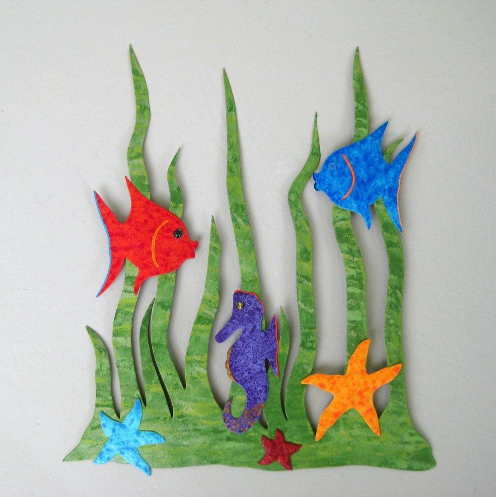 Bathroom wall art sea - Custom Made Handmade Upcycled Metal Sea Garden Wall Art Sculpture