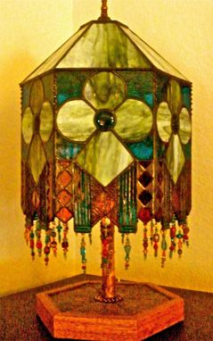 Custom Made Stained Glass Hexagonal Lamp With Fused Glass Elements, Copper Overlays And Glass Bead Strands - Moroccan Lamp