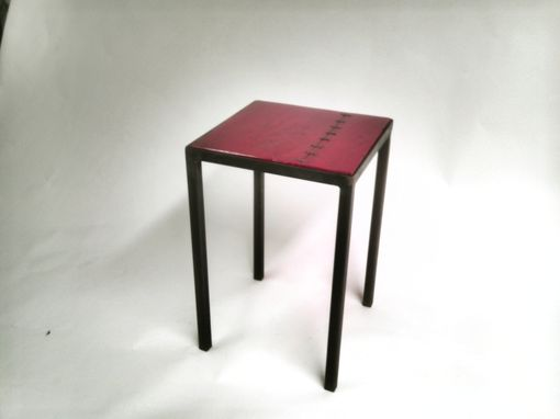 Custom Made Red Hot Reclaimed Wood Metal Base End Table