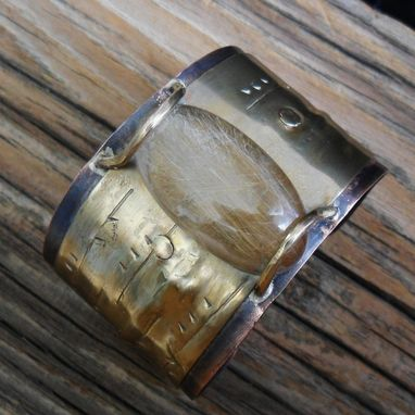 Custom Made Copper And Nugold Cuff With Rutilated Quartz Cabochon