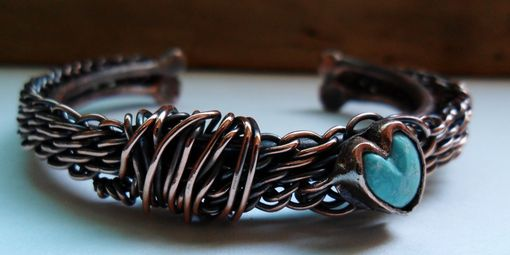Custom Made Custom Wire Work Bracelet With Hand Cut Turquoise Stone