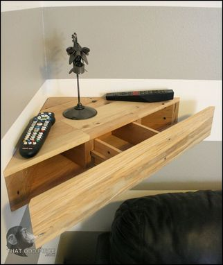 Custom Made Reclaimed Hardwood Corner Floating Shelf With Hidden Drawer