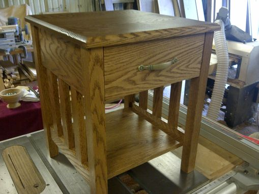Custom Made Oak End Table With Drawer