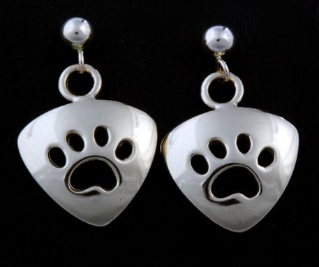 Custom Made Small Triangle Paw Print Earrings