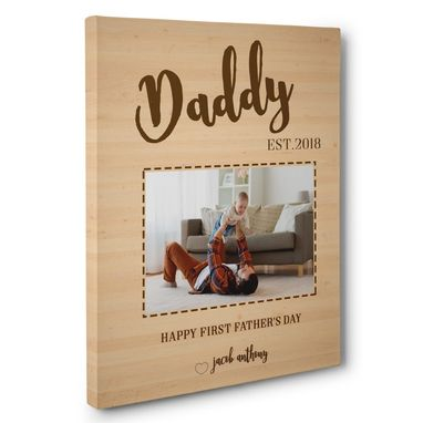 Custom Made Father'S Day Gift Wooden Custom Photo Canvas Wall Art